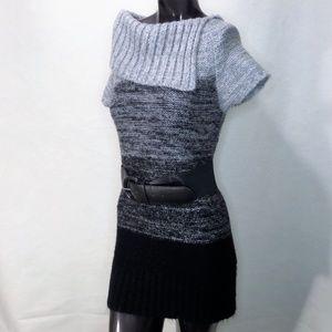 725 Knitted cowl Neck Sweater Dress & Belt